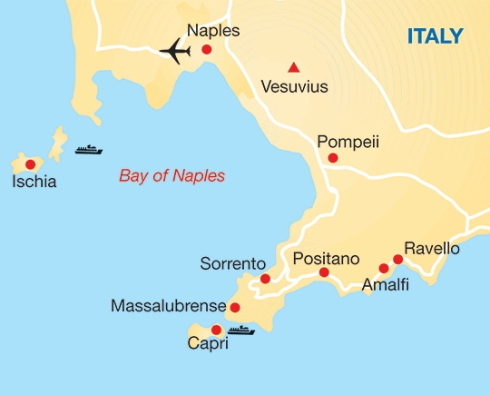Amalfi Coast of Italy - Map